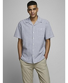 Jack and Jones Men's  Short Sleeve Cotton Stripe Shirt