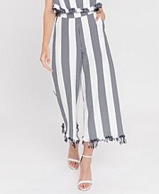 Stripe Fringe Hem Pants