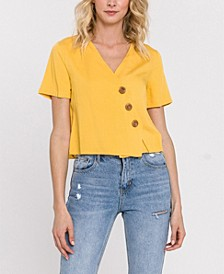 Asymmetrical Blouse with Buttons