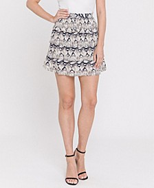 Snake-Print Ruffled Skirt