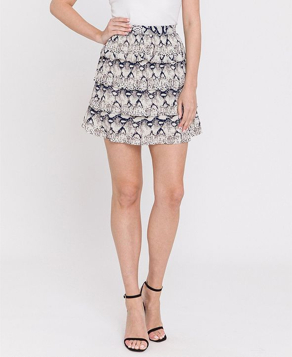 endless rose Snake-Print Ruffled Skirt