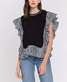 Checker-Print Combo Top