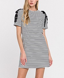 Stripe Knit Dress with Tie