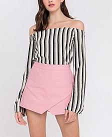 Stripe Off The Shoulder Knit Top