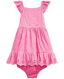 Baby Girls Eyelet Cotton Dress & Bloomer