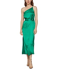 One-Shoulder Satin Dress
