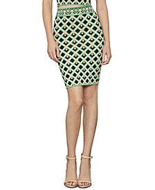 BCBGMAXAZRIA Alex Geo-Print Knit Pencil Skirt