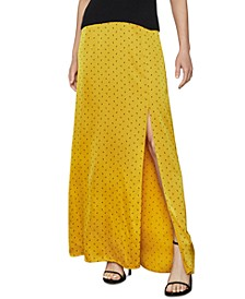 Polka-Dot Satin Maxi Skirt