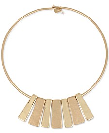 "Gold-Tone Geometric Bar 16-1/2"" Collar Necklace"