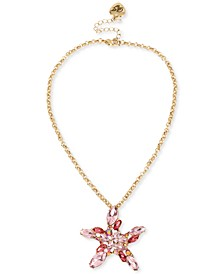 """Gold-Tone Crystal Cluster Starfish Pendant Necklace, 17"""" + 3"""" extender"""