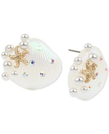 Gold-Tone Pavé & Imitation Pearl Seashell Button Earrings