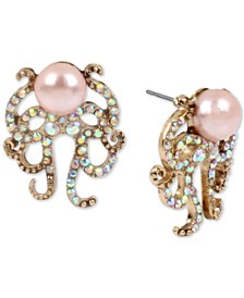 Gold-Tone Pavé & Imitation Pearl Octopus Button Earrings