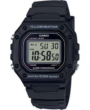 Men's Digital Classic Black Resin Strap Watch 43.2mm
