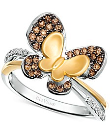 Diamond Butterfly Statement Ring (1/3 ct. t.w.) in 14k Gold & 14k White Gold