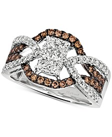 Diamond Cluster Crossover Statement Ring (1 ct. t.w.) in 14k White Gold