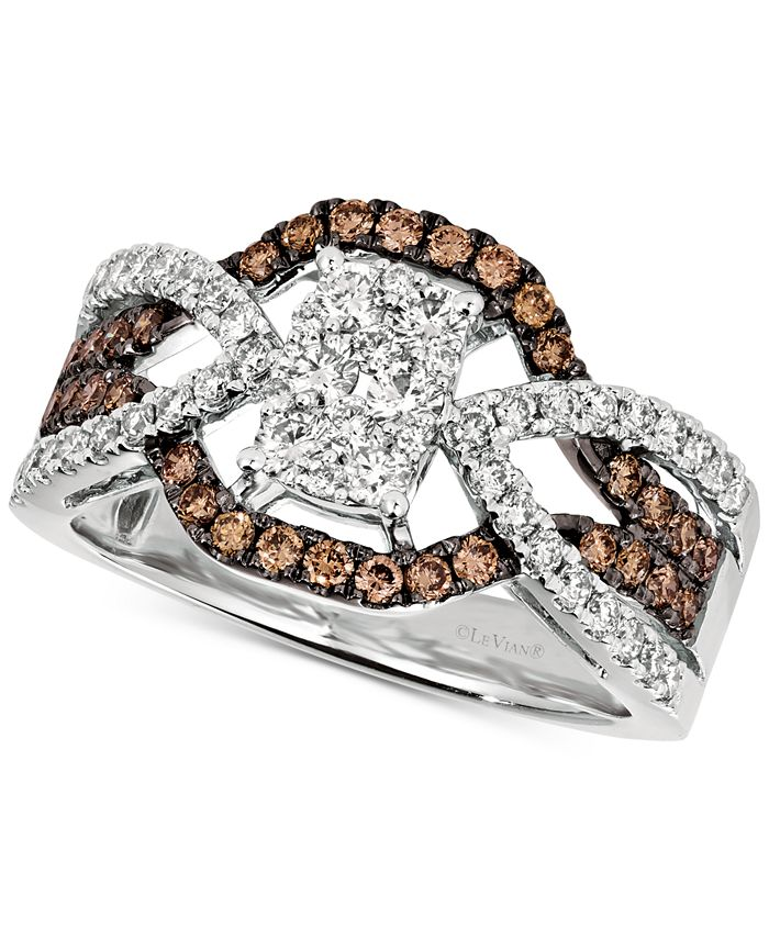 Le Vian - Diamond Cluster Crossover Statement Ring (1 ct. t.w.) in 14k White Gold
