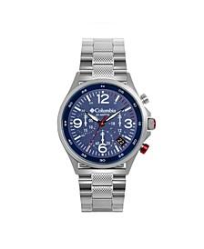 Men's Canyon Ridge Silver-Tone Chronograph Bracelet Watch 45mm