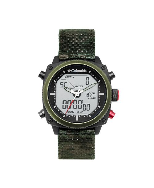 Columbia Men's Ridge Runner Green Camo Nylon Analog-Digital Watch 45mm