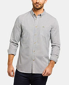 Men's Regular Fit Long Sleeve Gingham Check Poplin Shirt