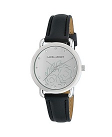 Women's Floral Mirror Dial Black Polyurethane Strap Watch 35mm