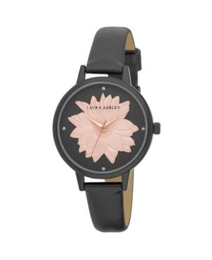 Women's Flower Dial Black Polyurethane Strap Watch 38mm