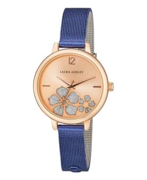 Women's Sunray Floral Stone Dial Blue Alloy Bracelet Watch 34mm
