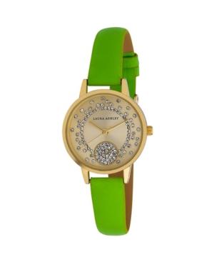 Women's Spray Crystal Dial Olive Polyurethane Strap Watch 32mm