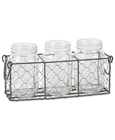 Vintage-like Chicken Wire Flatware Caddy with Clear Jars