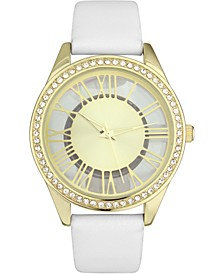 INC Women's White Faux Leather Strap Watch 32mm, Created for Macy's