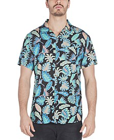 Men's Graham Regular-Fit Frond-Print Camp Shirt