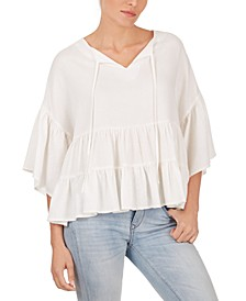 Tiered-Hem Peasant Top
