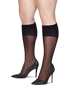 Plus Size 2-Pk. Curves Sheer Knee Socks