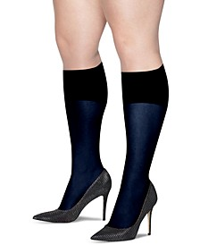 Plus Size 2-Pk. Curves Opaque Knee Socks
