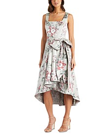 Petite Floral Jacquard High-Low Dress