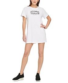 Sport Cotton Printed-Logo T-Shirt Dress