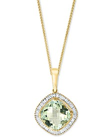 "LALI Jewels Green Amethyst (5-1/4 ct.) & Diamond (1/2 ct. t.w.) 18"" Pendant Necklace in 14k Gold"