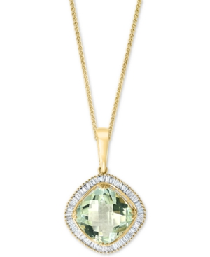 """Green Amethyst (5-1/4 ct.) & Diamond (1/2 ct. t.w.) 18"""" Pendant Necklace in 14k Gold"""