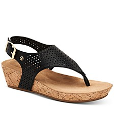 Fatimaa Memory Foam Thong Wedge Sandals, Created for Macy's