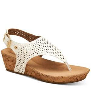 Fatimaa Memory Foam Thong Wedge Sandals