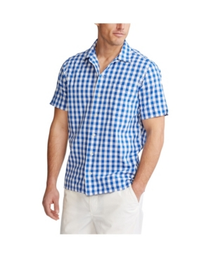 Polo Ralph Lauren Men's Short-sleeve Gingham Beach Poplin Camp Shirt In Blue