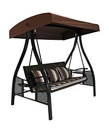 3-Seat Deluxe Outdoor Patio Swing with Canopy