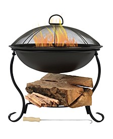 Elegant Outdoor Wood Burning Patio Fire Pit Bowl with Spark Screen