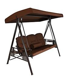 3-Person Outdoor Adjustable Tilt Canopy Patio Swing Bench