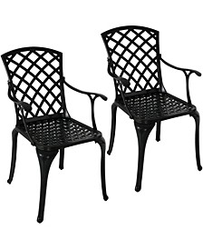 Outdoor Metal Dining Chair Patio Chairs Set of 2
