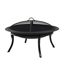 Portable Round Bonfire Wood Burning Patio Outdoor Fire Pit Bowl