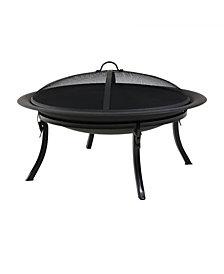 Sunnydaze Decor Portable Round Bonfire Wood Burning Patio Outdoor Fire Pit Bowl