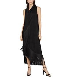 Knit Asymmetrical Fringed-Hem Dress