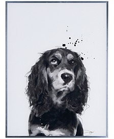 "Cocker Spaniel Pet Paintings on Reverse Printed Glass Encased with a Gunmetal Anodized Frame Wall Art, 24"" x 18"" x 1"""