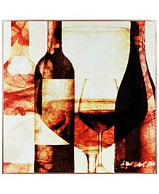 "Wine Bottles 2 on Reverse Printed Art Glass and Anodized Aluminum Frame Wall Art, 32"" x 32"" x 1"""