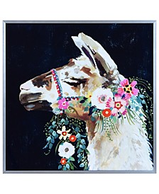 """Brown Lama on Reverse Printed Art Glass and Anodized Aluminum Frame Wall Art, 16"""" x 16"""" x 1"""""""